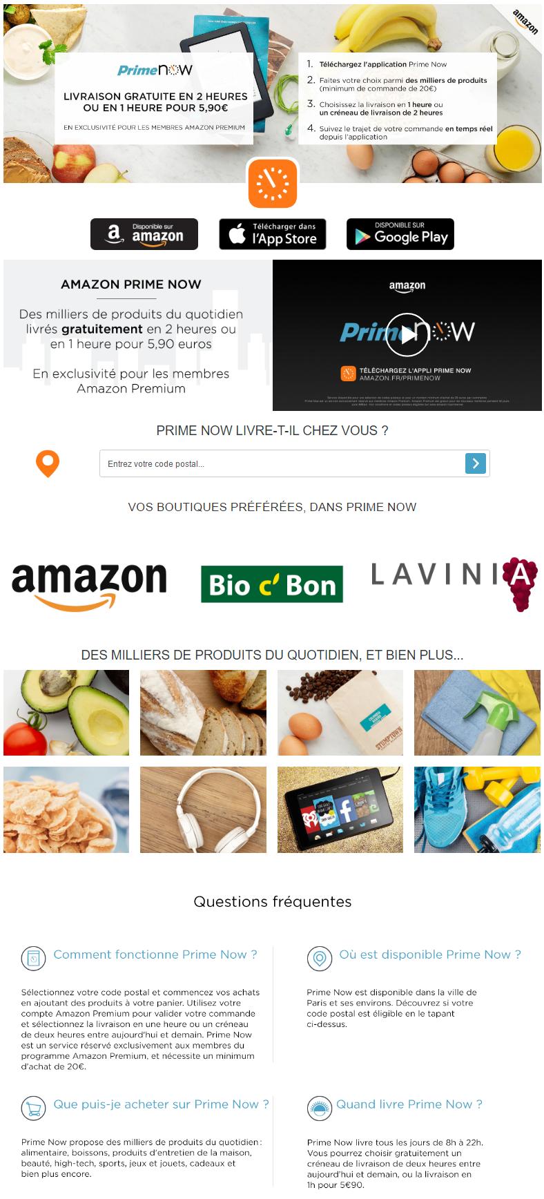 Amazon Prime Now devient aussi une