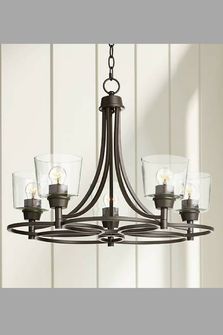 Rustic Bronze And Clear Glass Chandelier Chandelier Rustic