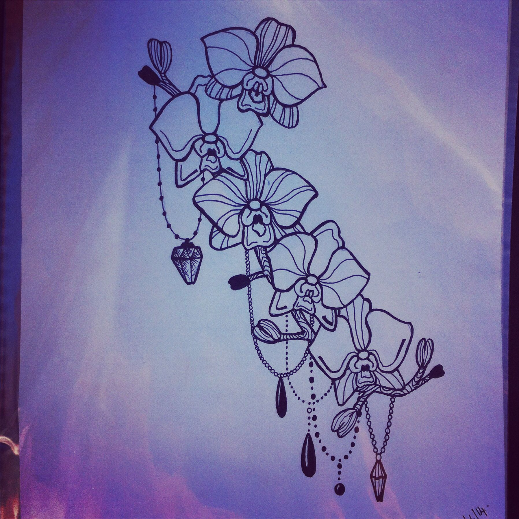 Orchid bead design Orchid tattoo, Tattoo drawings