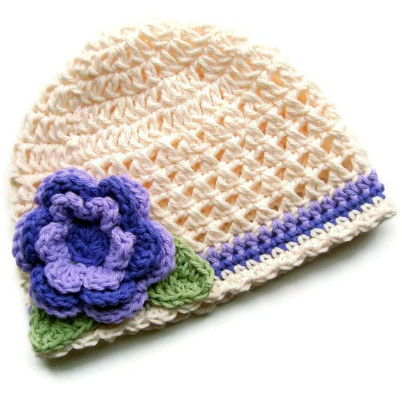 Simply+Girly+Cream+and+Lavender+Crochet+Beaniecustom+by+Karenisa,+$22.00