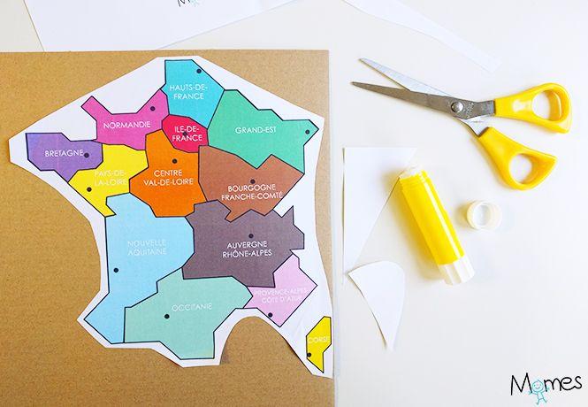 carte des r gions de france imprimer en puzzle cycle 3 puzzles and frances o 39 connor. Black Bedroom Furniture Sets. Home Design Ideas