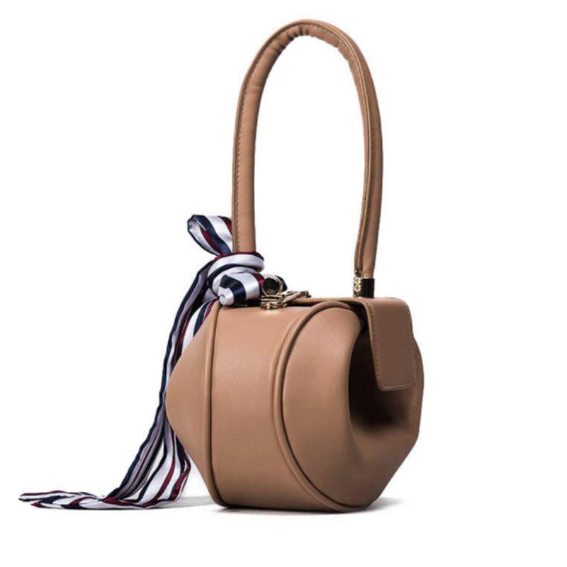 522438570 Women Leather Handbag Luxury Designer Round Shape Top Handle Bow Scarf  Clutch #LFS #BaguetteBucketBagClutchTote