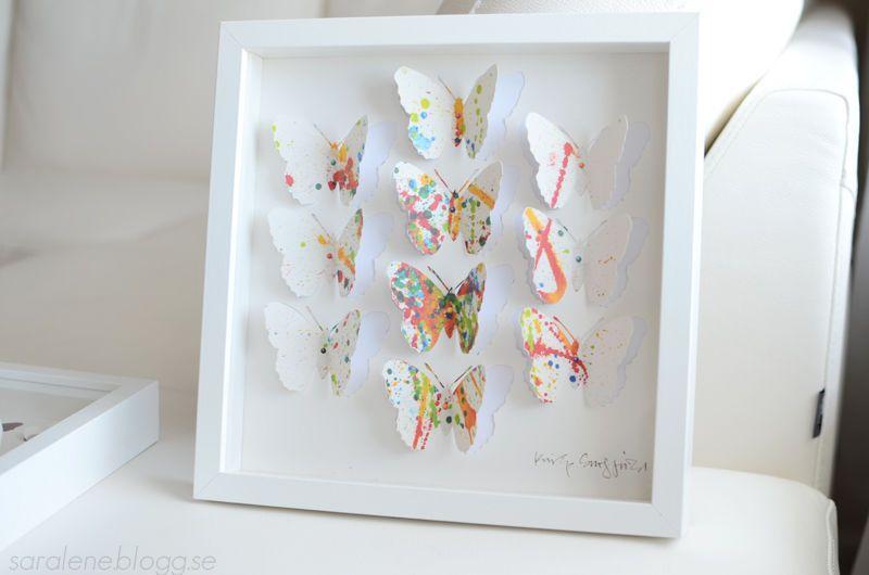 Ikea Olunda Bild Mit Rahmen Schmetterlinge Wandbild