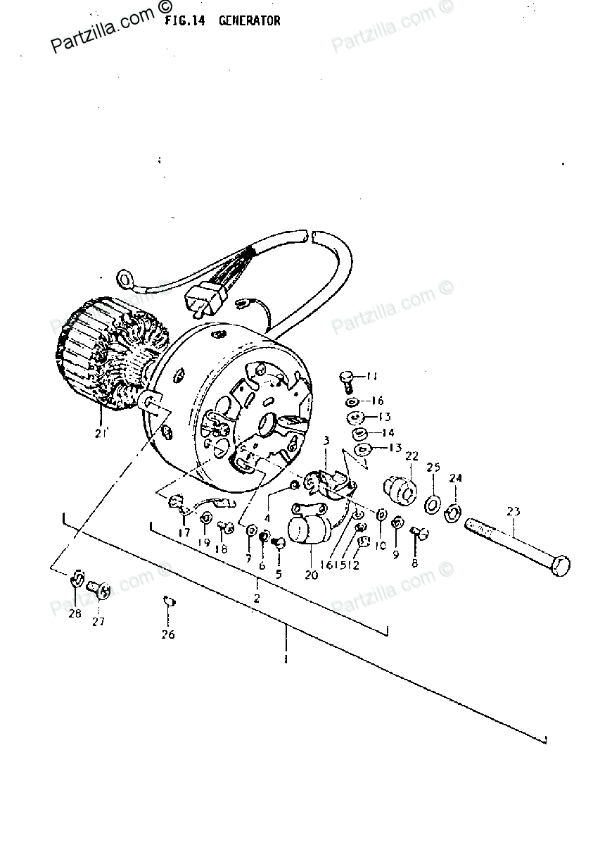 Diagram of Suzuki Motorcycle Parts 1977 TC185 GENERATOR
