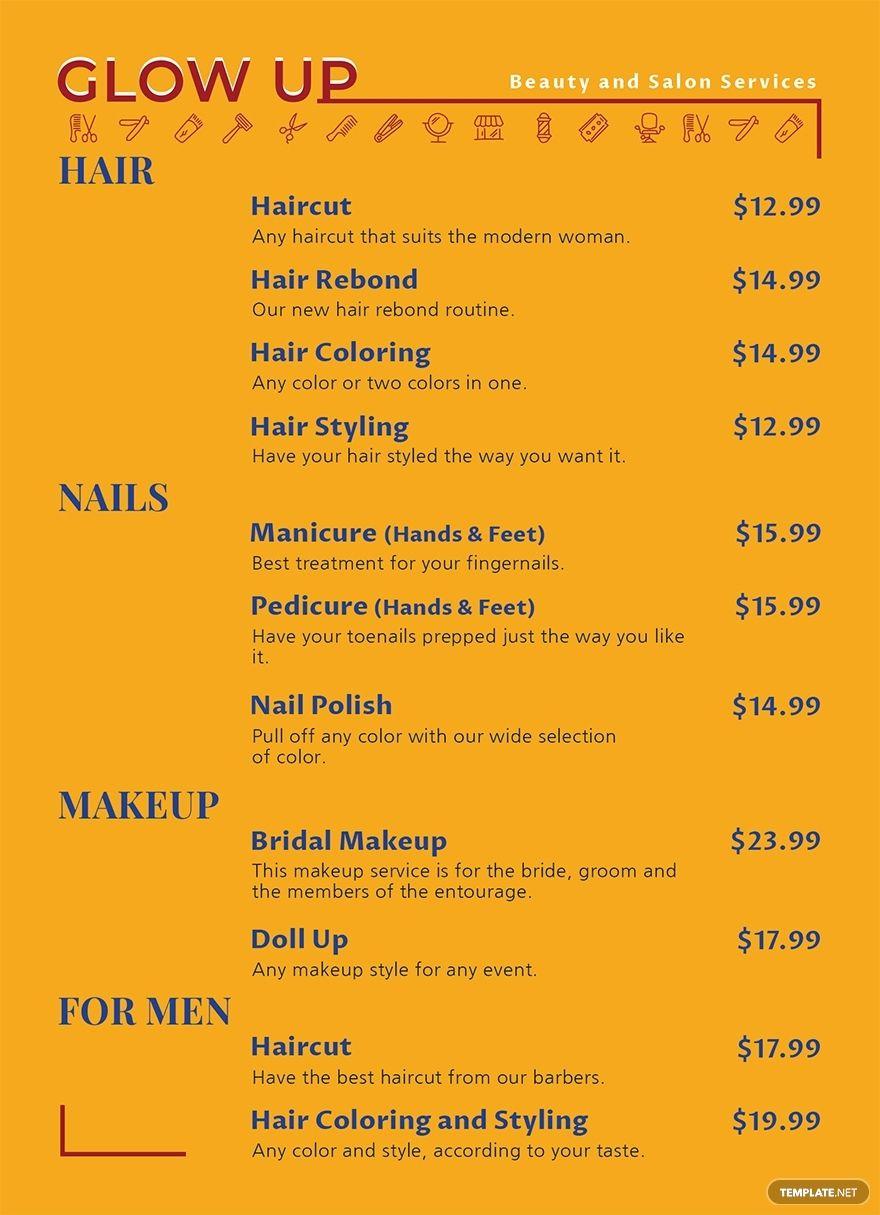 Beauty Salon Menu Template Free Psd Google Docs Illustrator Word Apple Pages Publisher Template Net Salon Menu Menu Template Salon Services Salon menu templates microsoft word
