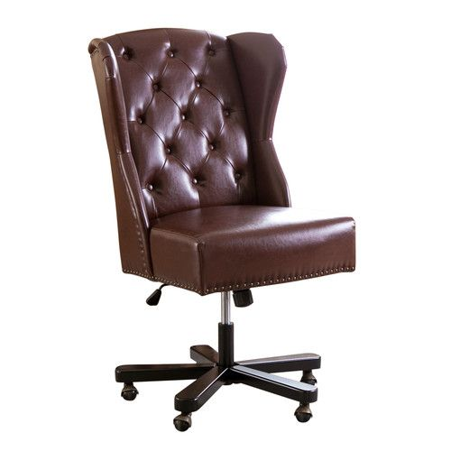 lifts, real leather, $420 Found it at Wayfair - Craignamaddy Executive Chair