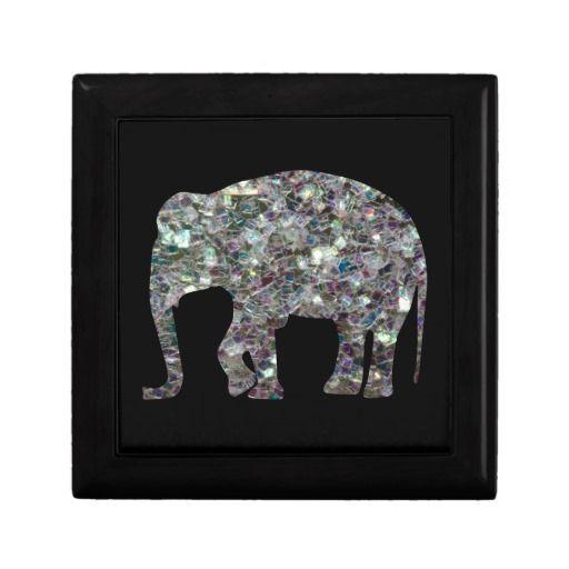 Customize #Sparkly colourful silver mosaic #Elephant #KeepsakeBox by #PLdesign #SilverSparkles #SilverMosaic