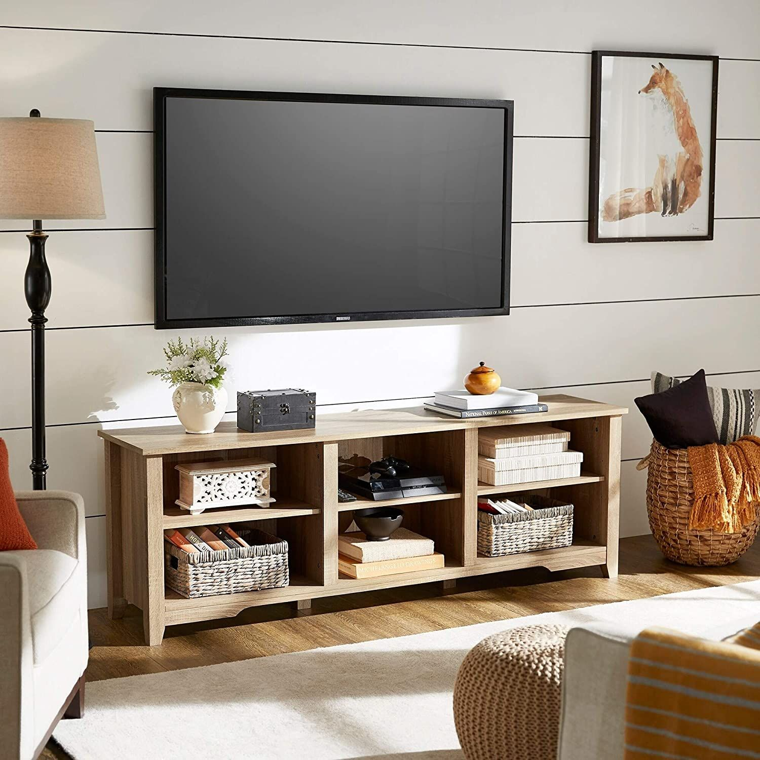 Oak Finish 70 Inch Tv Stand By Classic Brown Mdf Metal Includes