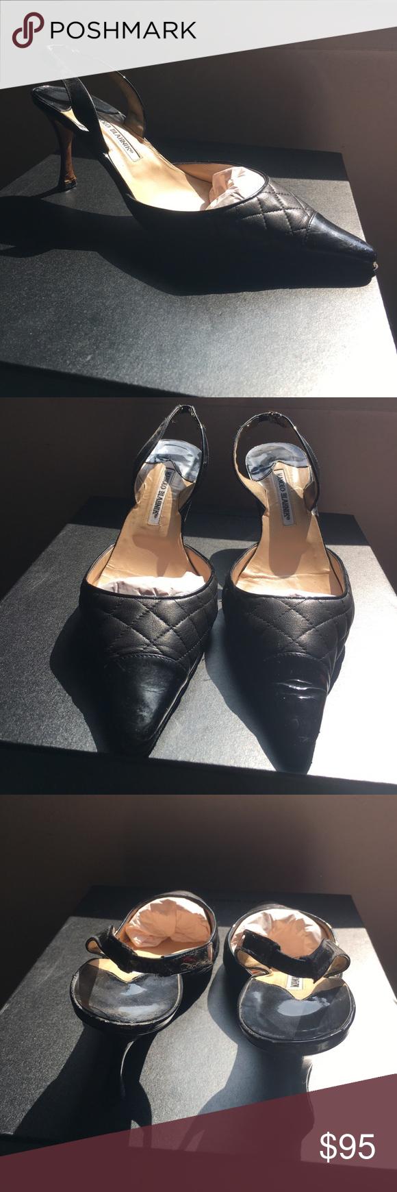 "Manolo Blahnik pumps Black open back pumps quilted leather. Bottom has been redone. Very good condition. 3"" heel. Manolo Blahnik Shoes Heels"