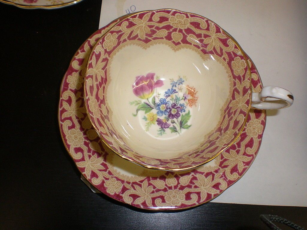 AYNSLEY Cup and Saucer - FLORAL picclick.com