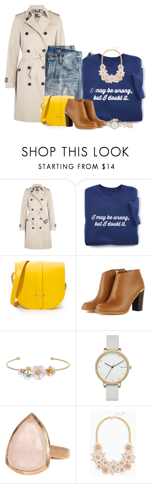 """saddle up for something warm"" by fantasia-fashion ❤ liked on Polyvore featuring Burberry, J.Crew, The Cambridge Satchel Company, LC Lauren Conrad, Skagen, de Grisogono, SonyaRenée, contest and saddlebag"