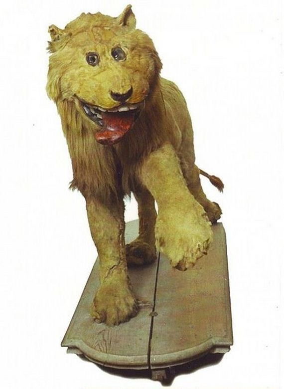 Taxidermy of African lion in 18th century Bad taxidermy