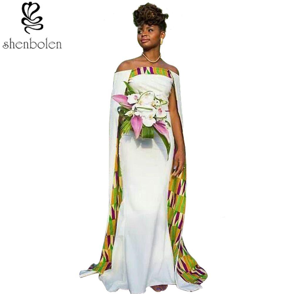 Women fashion sexy white joint beautiful batik fabric dress female