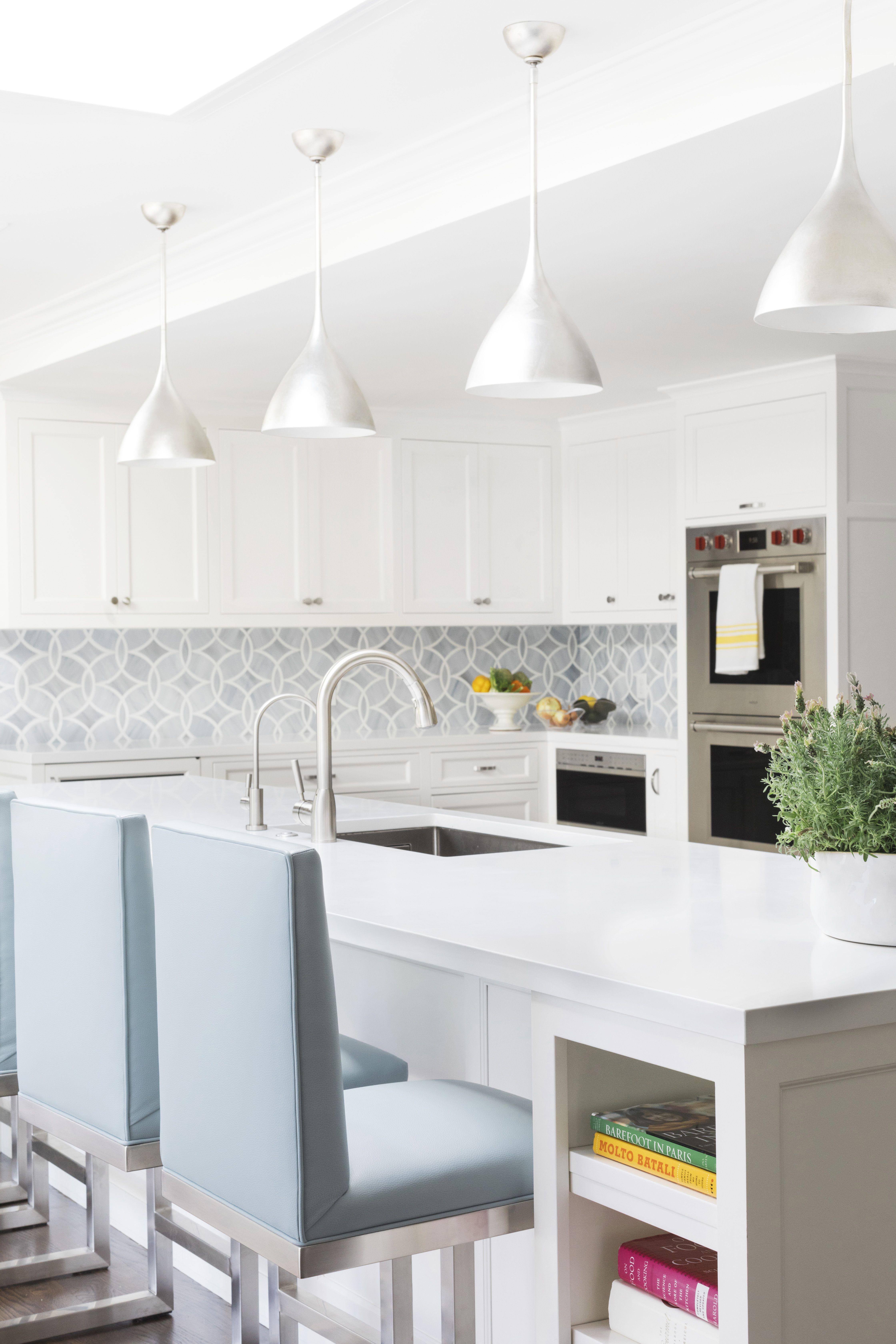 grey and white kitchen, fresh kitchen, white cabinets ...