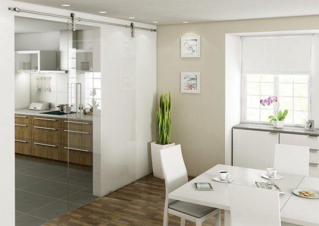Schiebetür zwischen Küche und Wohnzimmer -glas-modern-schiene - wohnzimmer modern parkett