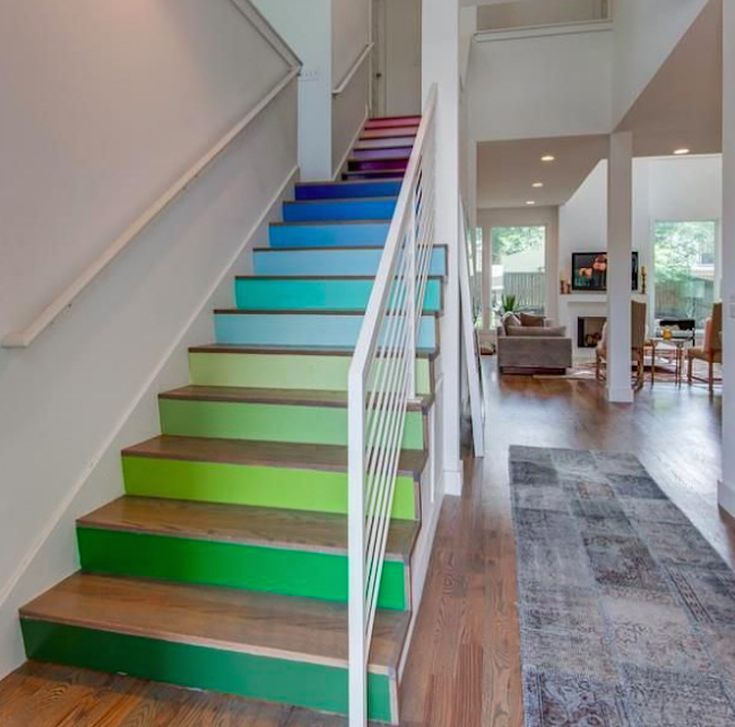 22 Modern Innovative Staircase Ideas: 22 Unique Painted Stair Ideas In 2019