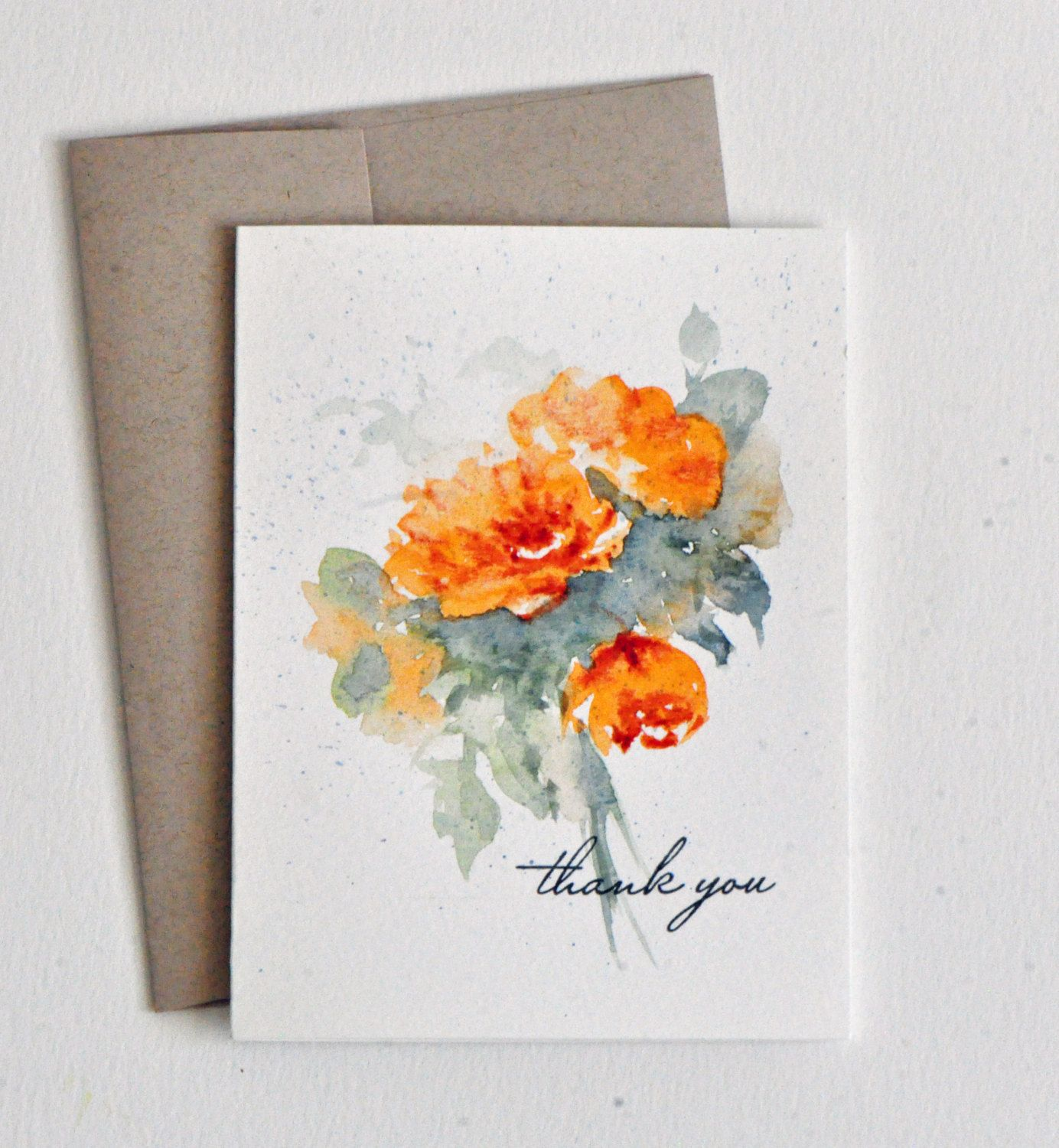 Hand Painted Card Original Watercolor Card Thank You Card