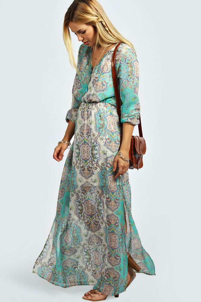 Boohoo Womens Ladies Tanya Cage Detail Paisley Woven Maxi Dress in Multi