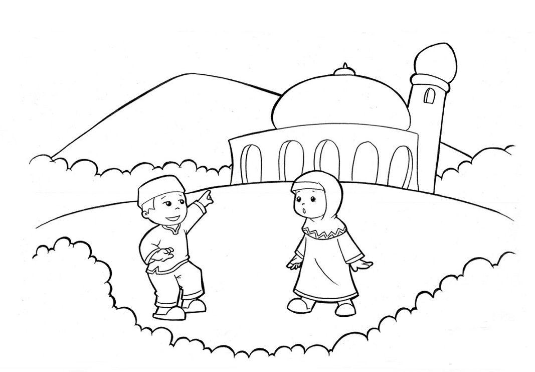 Gambar Untuk Mewarnai Anak Muslim Buku Mewarnai Kartun Sketsa
