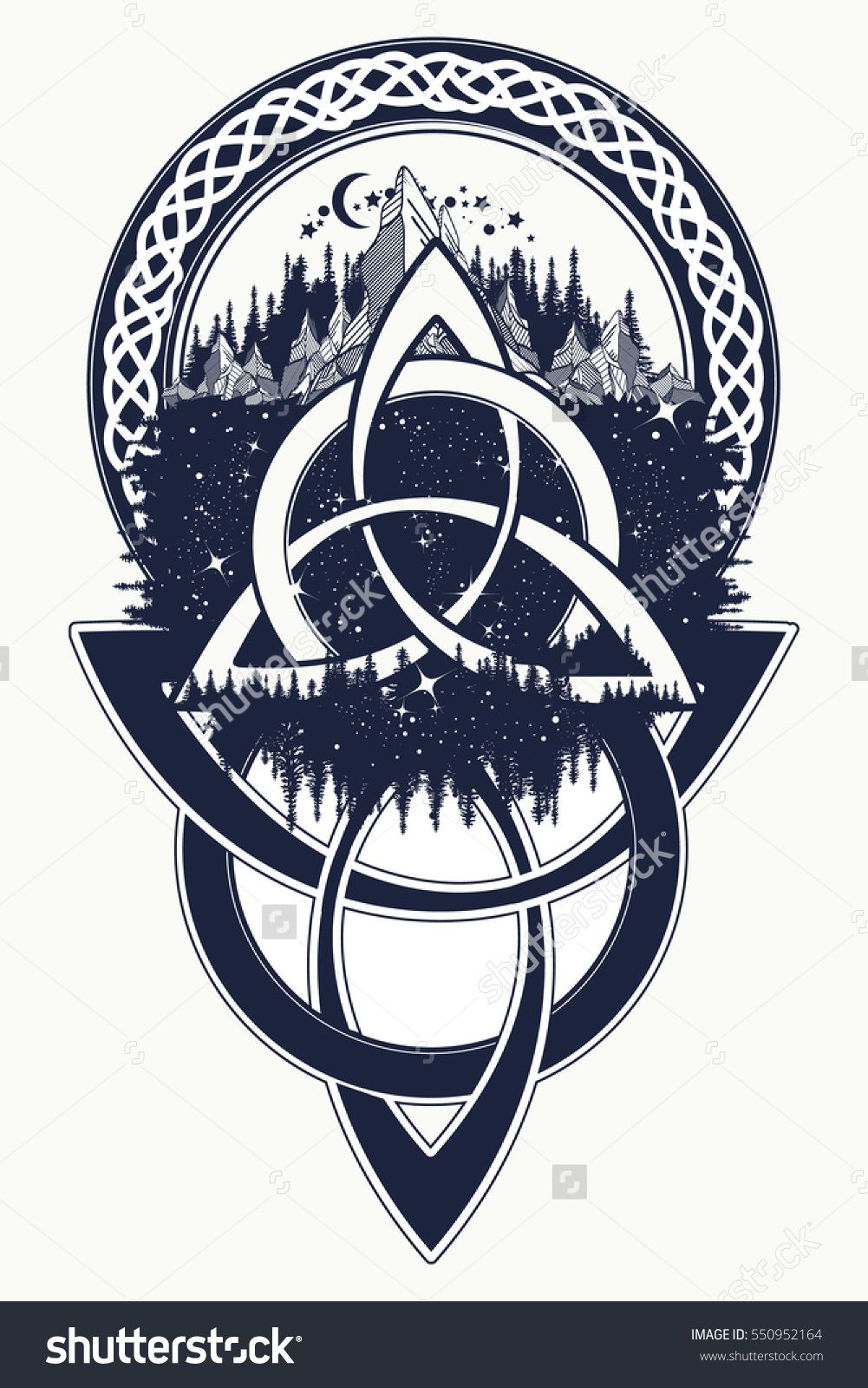 Celtic knot tattoo. Mountain, forest, symbol travel