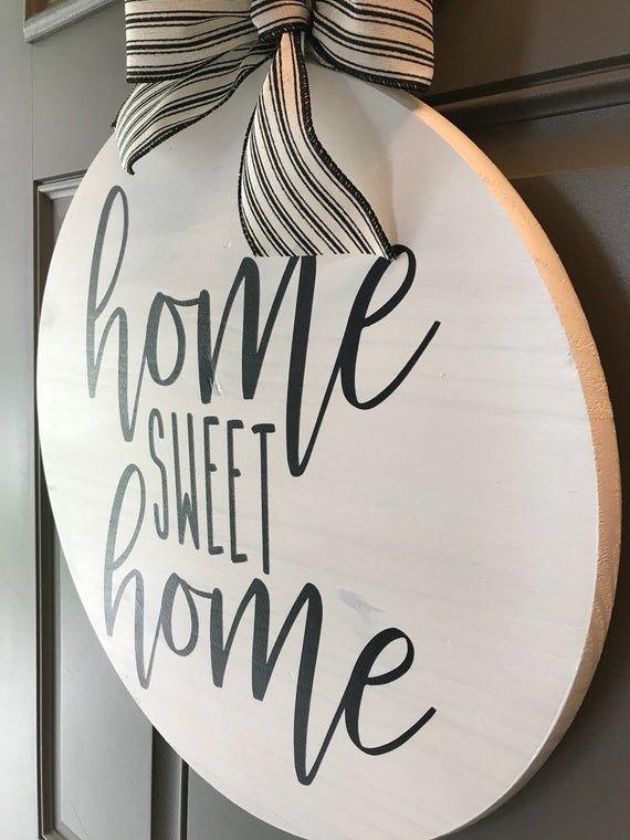 Photo of Door hanger, Home Sweet Home, front door decor, black and white decor, front door sign, Home Sweet Home sign, wreaths for the front door, round