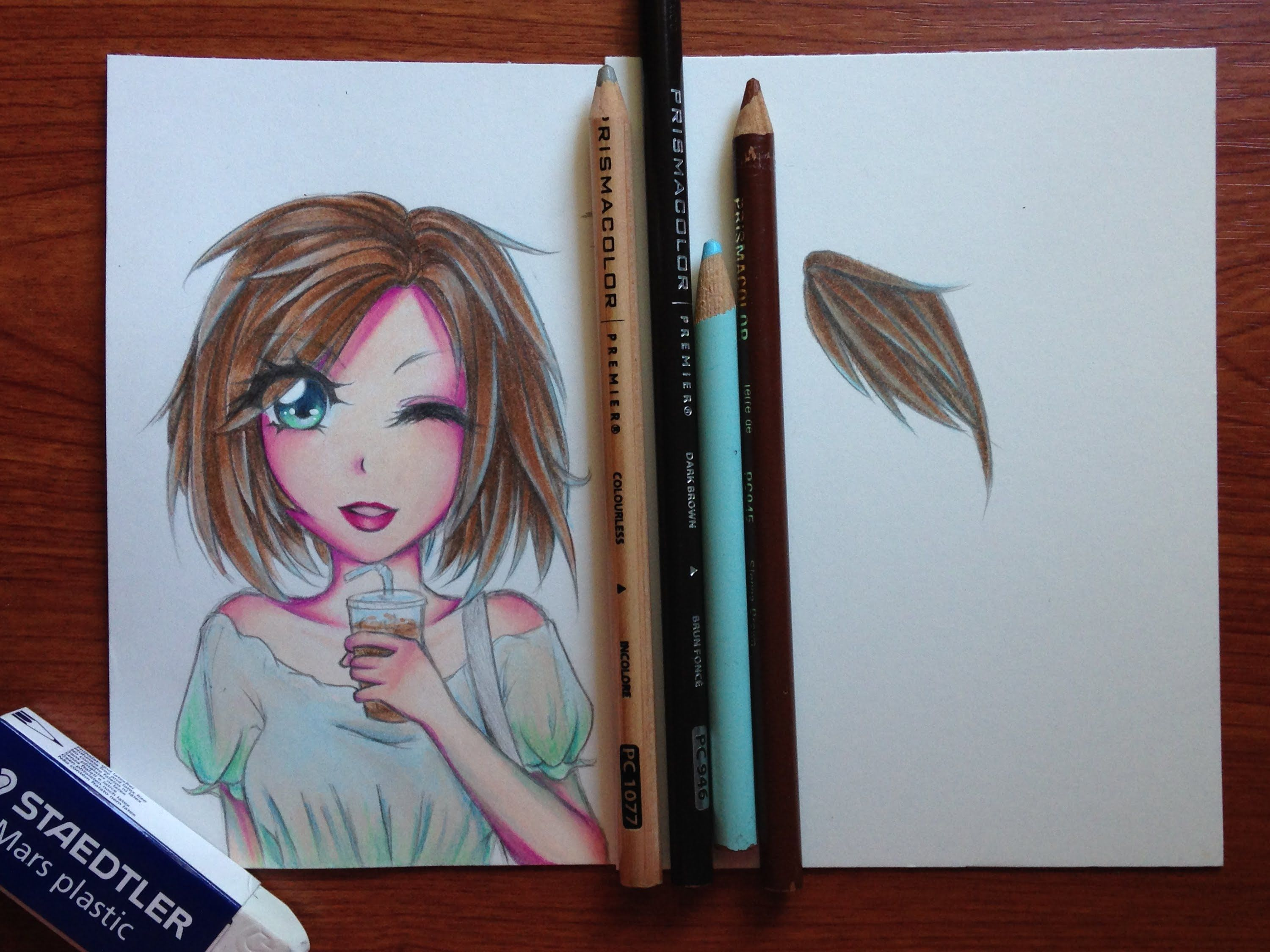 Tutorial how to color manga hair with colored pencils