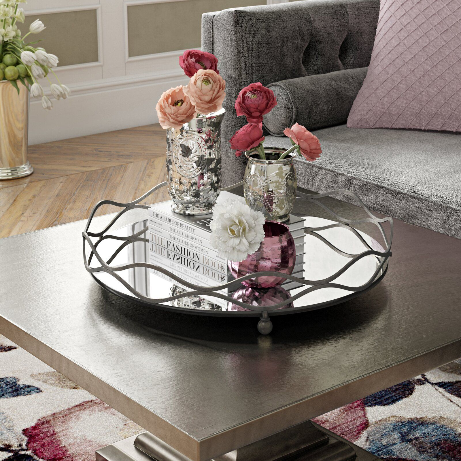 Willa Arlo Interiors Round Mirror And Metal Mirrored Tray Wayfair With Images Mirror Tray Decor Tray Decor Mirror Tray