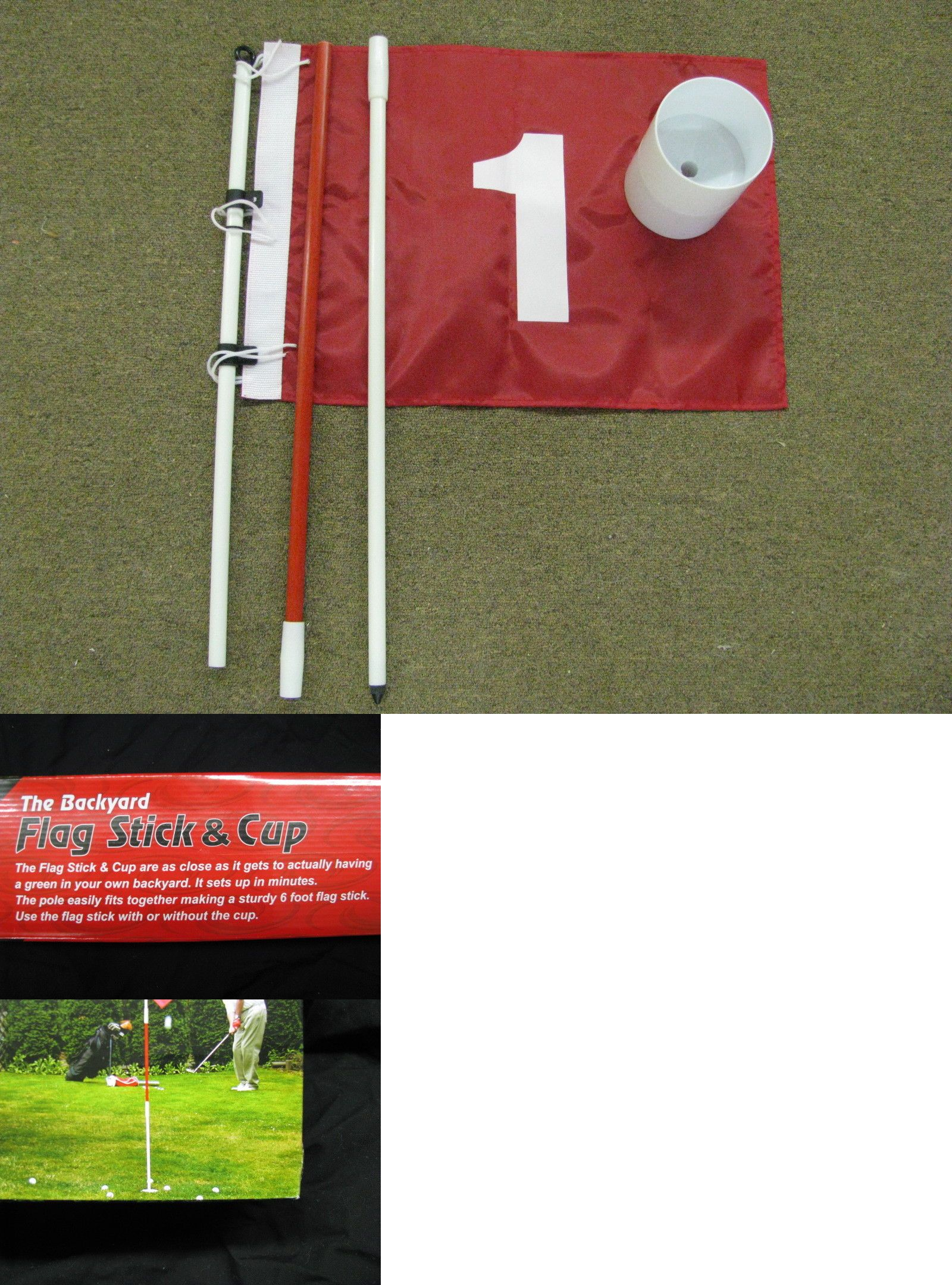 putting greens and aids 36234 backyard flag stick pole and cup