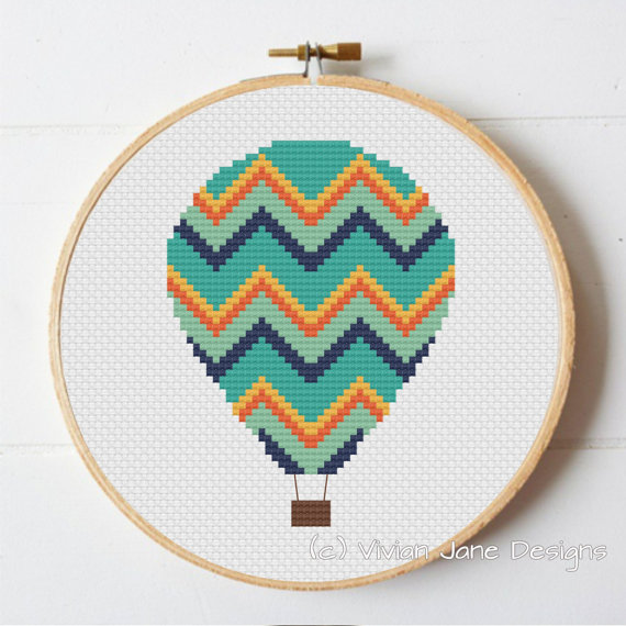 PDF cross stitch pattern, Hot Air Balloon, nursery decor, modern needlecraft, wall art tutorial, Vivian Jane Designs