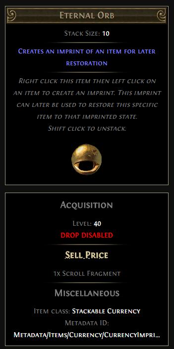 poe eternal orb, An Eternal Orb is a currency item that