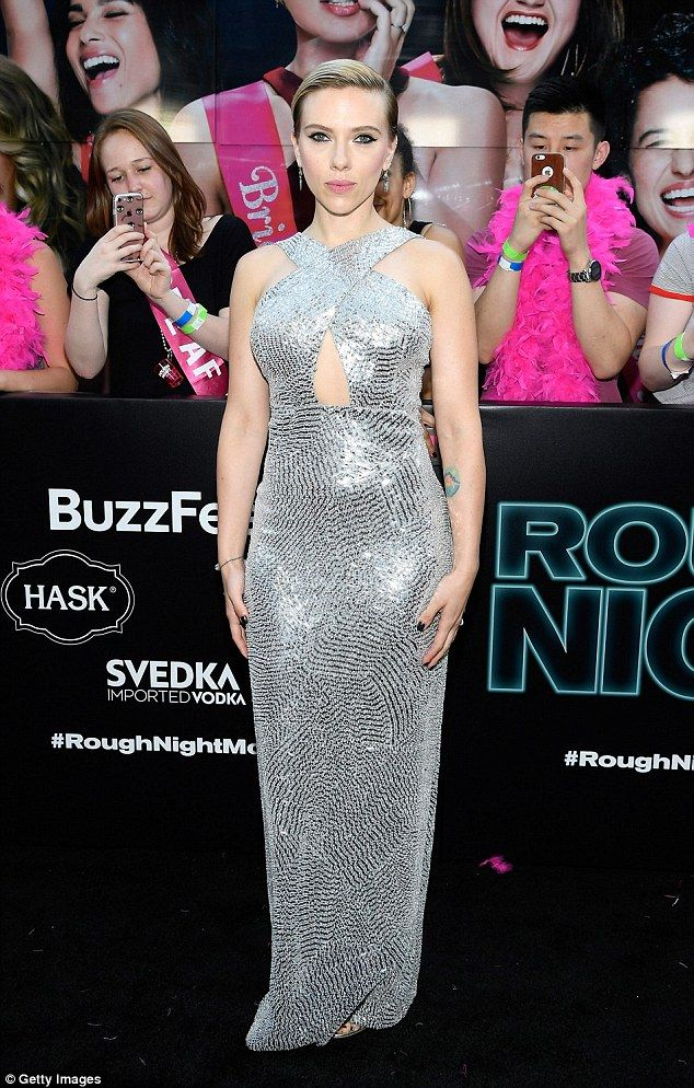 Disco Diva Scarlett Johansson Picked A Silver Statement Gown For The Monday Premiere Of Rough Night