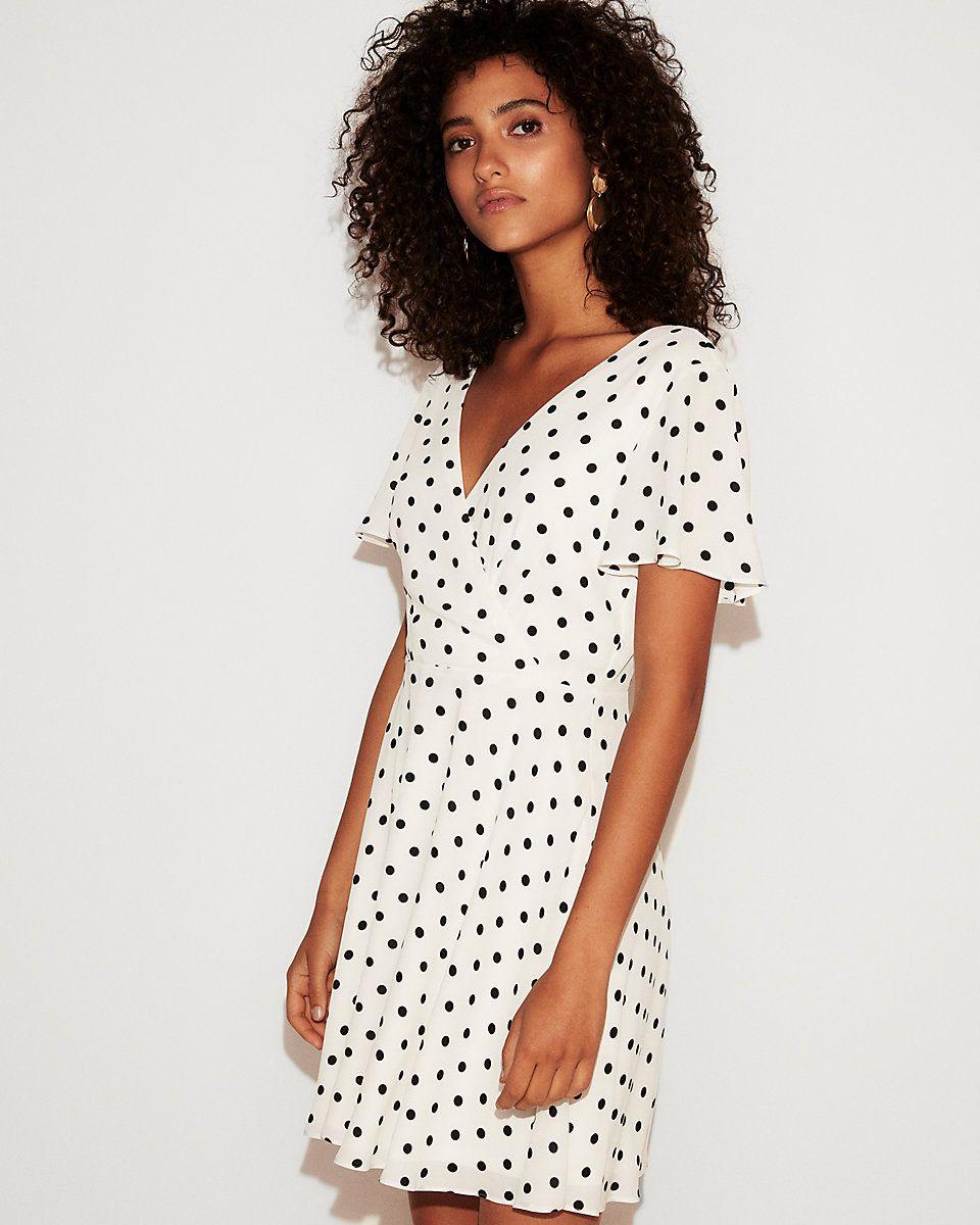 e8d9225fb3c Polka Dot Flutter Sleeve Fit And Flare Dress