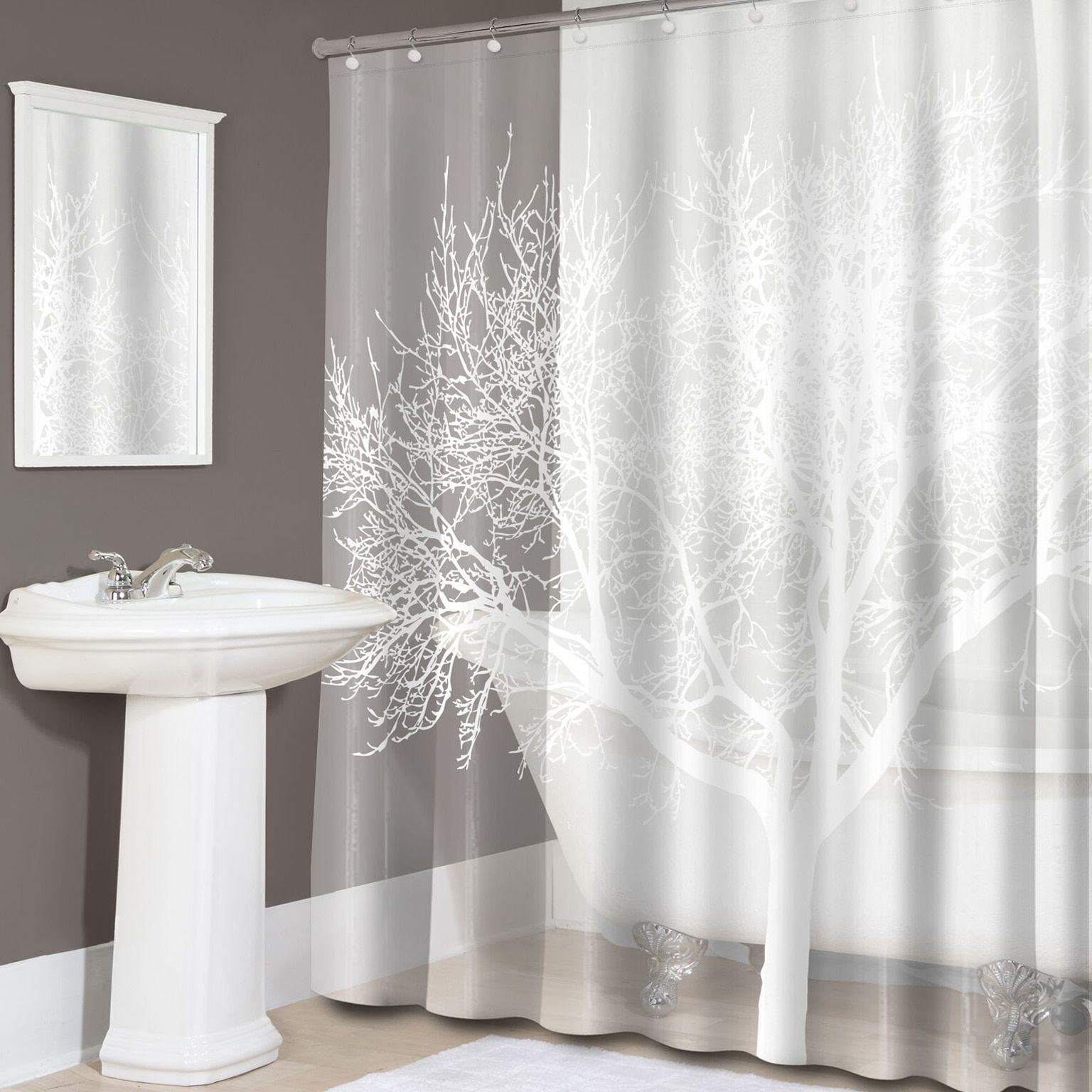 Pearl White Tree Print Peva Shower Curtain Pearl White Shower Curtain Tree Shower Curtains Gray Shower Curtains