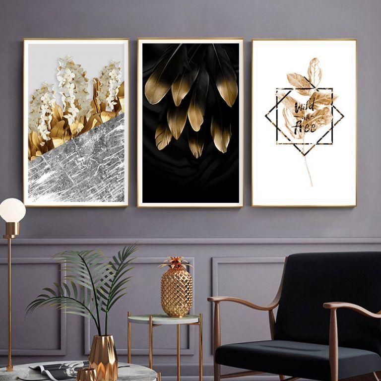 Scandinavian Golden Leaves & Petals Walll Art HD quality gold wall art, abstract wall art, scandinavi… | Gold wall art, Abstract canvas wall art, Beautiful wall art