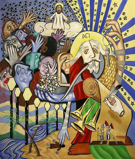 Revelation Chapter 1 Giclee Fine art Canvas Print Cubism Jesus Anthony Falbo