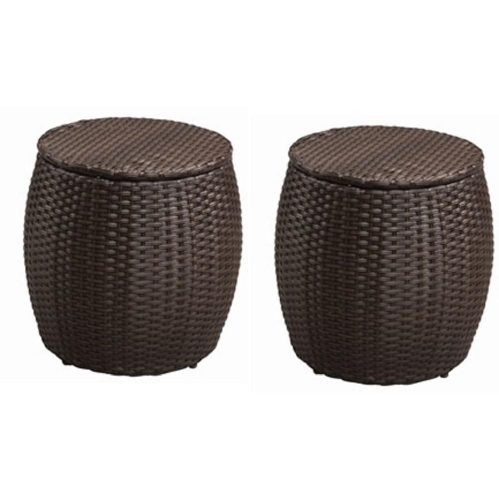 Amazing Hampton Bay All Weather Wicker Pouf Patio Ottomans (2 Pack)