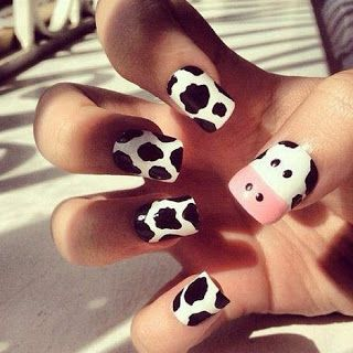 Cow Nails I M So Doing This When I Get Back Home Cow Nails White Nail Art Animal Nails