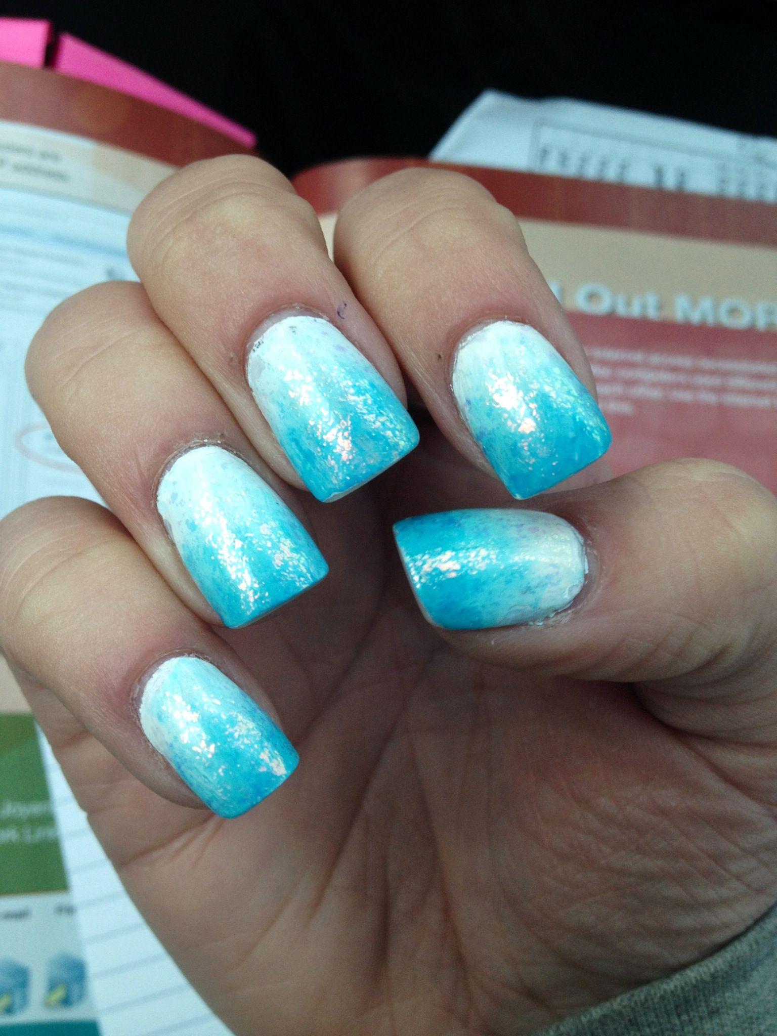 Blue white ombré sparkle nails. Acrylic nail design art