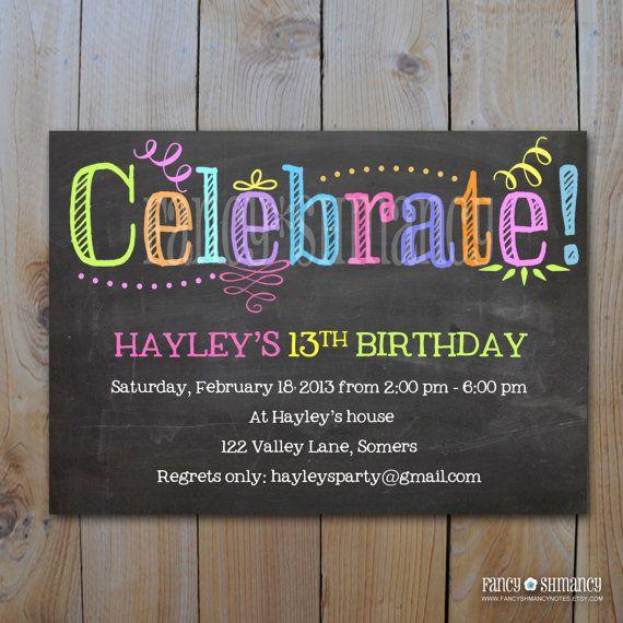 Printable Chalkboard Invitation   Celebrate   Instant Download - microsoft birthday invitation templates