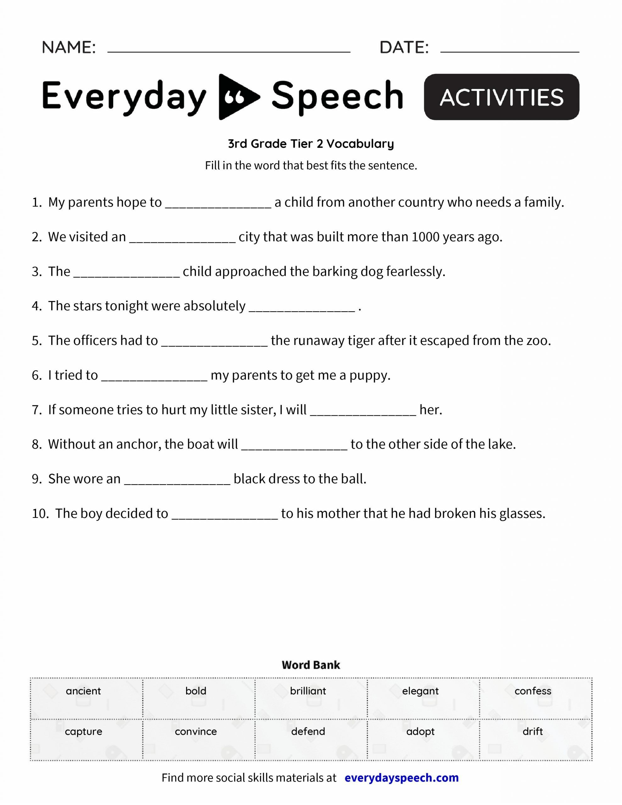 5th Grade Vocabulary Worksheet 3rd Grade Vocabulary Deute