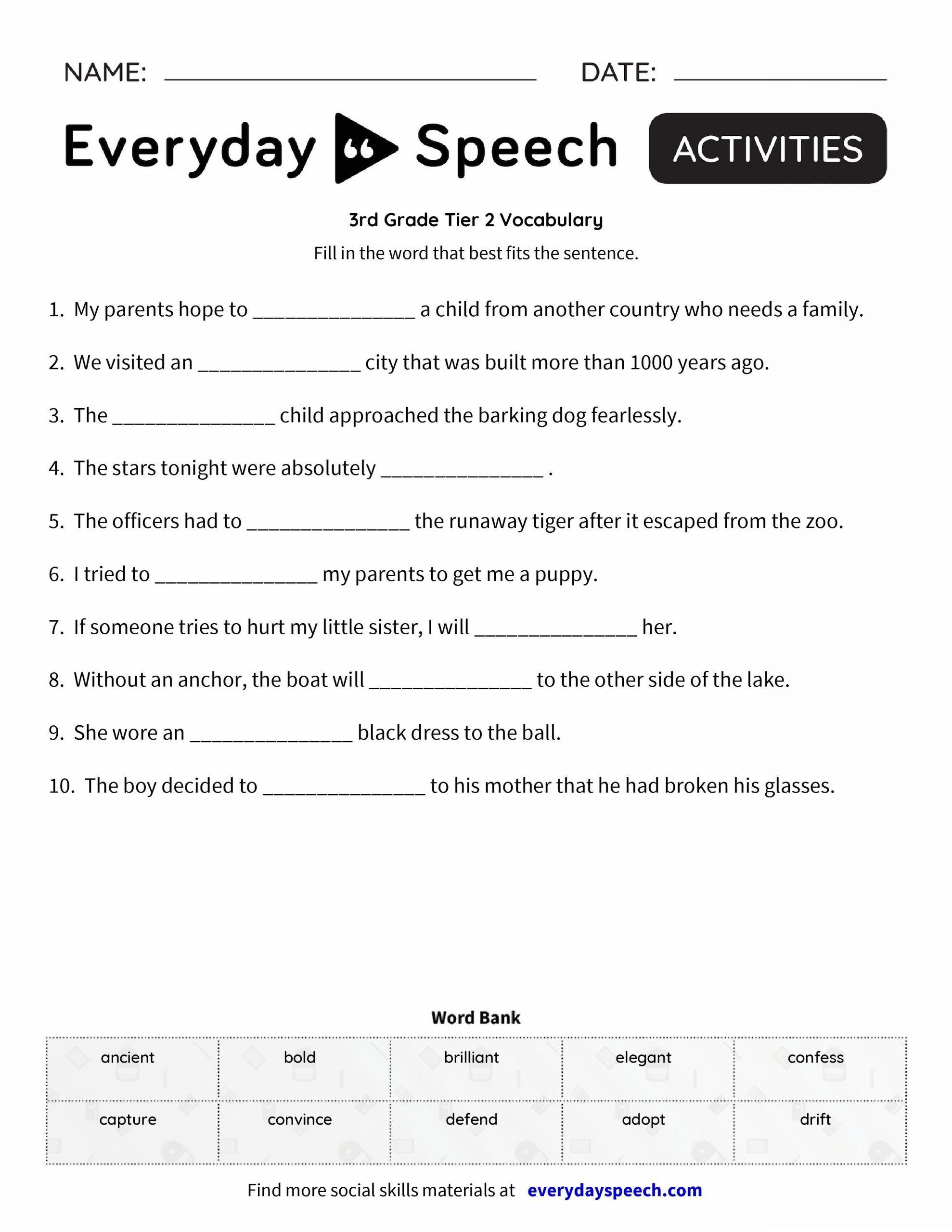5th Grade Vocabulary Worksheet 3rd Grade Vocabulary Deute