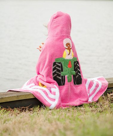 Love this Pink Tractor Hooded Towel on #zulily! #zulilyfinds
