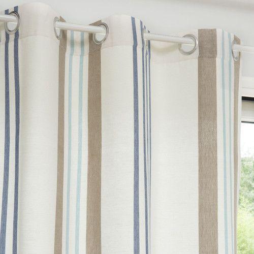 rideau illets rayures en coton 140 x 250 cm oeillet rayures et coton. Black Bedroom Furniture Sets. Home Design Ideas
