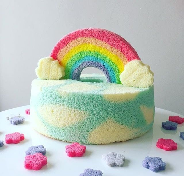 Amazing Rainbow Chiffon Cake Chiffon Cake Best Cake Recipes Rainbow Cake