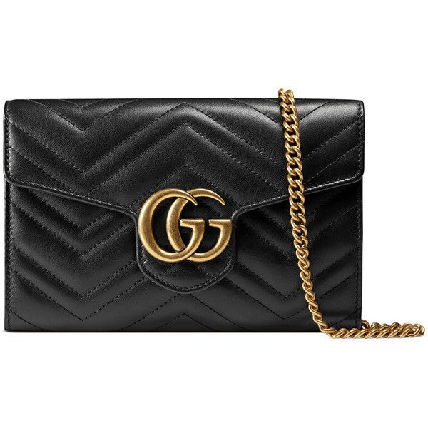 80bd8ac46ea7ee Gucci GG Marmont 2.0 Medium Quilted Wallet-on-Chain (5,185 MYR) ❤ liked on  Polyvore featuring bags, wallets, black, chain shoulder bag, chain bag,  chain ...