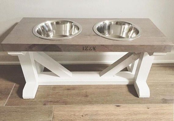 Free Personalization Dog Bowl Feeder Raised Elevated Stand Farmhouse Style Rustic Wo