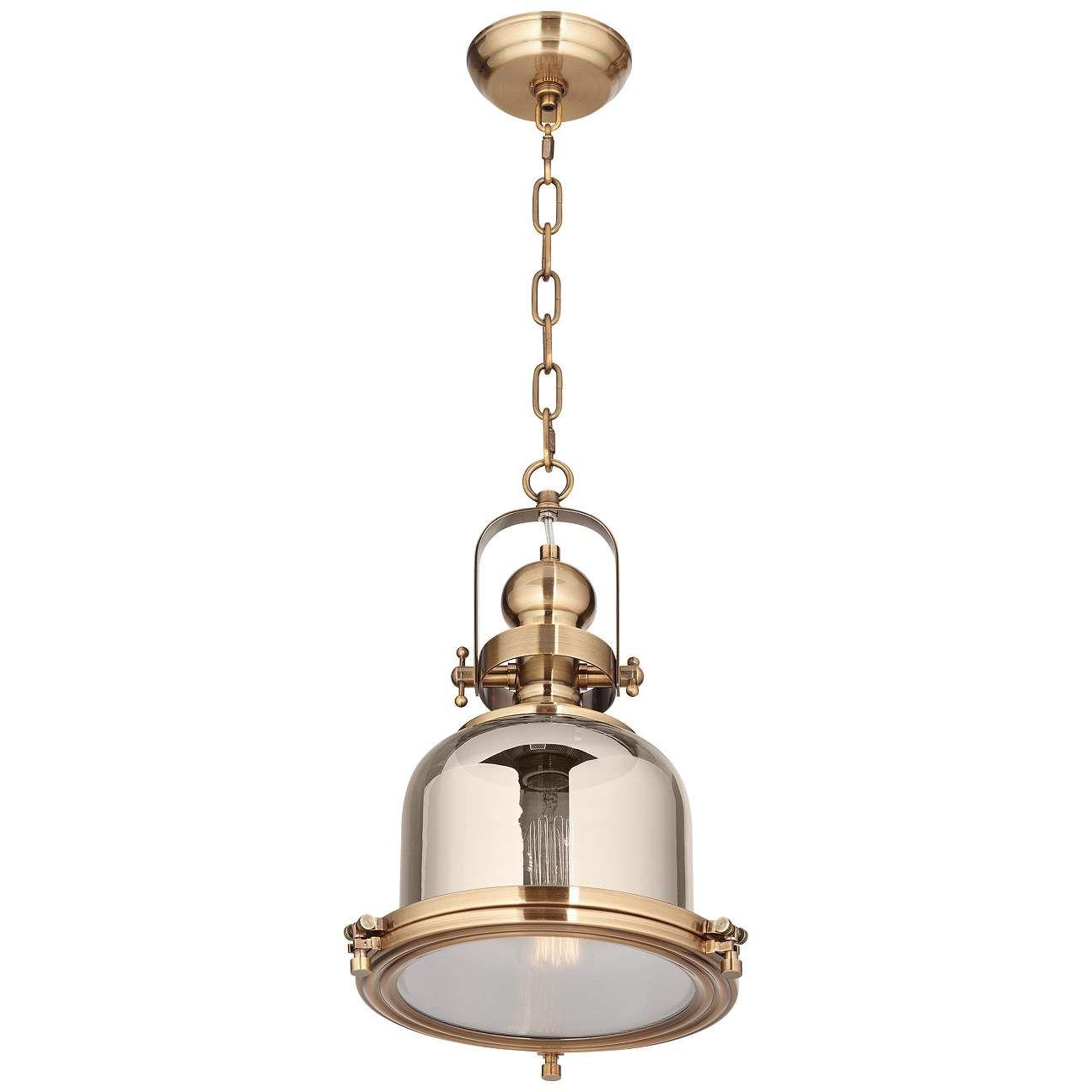 Elida Antique Brass 11 Wide Chrome Glass Mini Pendant Light 1f211 Lamps Plus In 2021 Mini Pendant Lights Pendant Light Brass Lantern Pendant Brass mini pendant light
