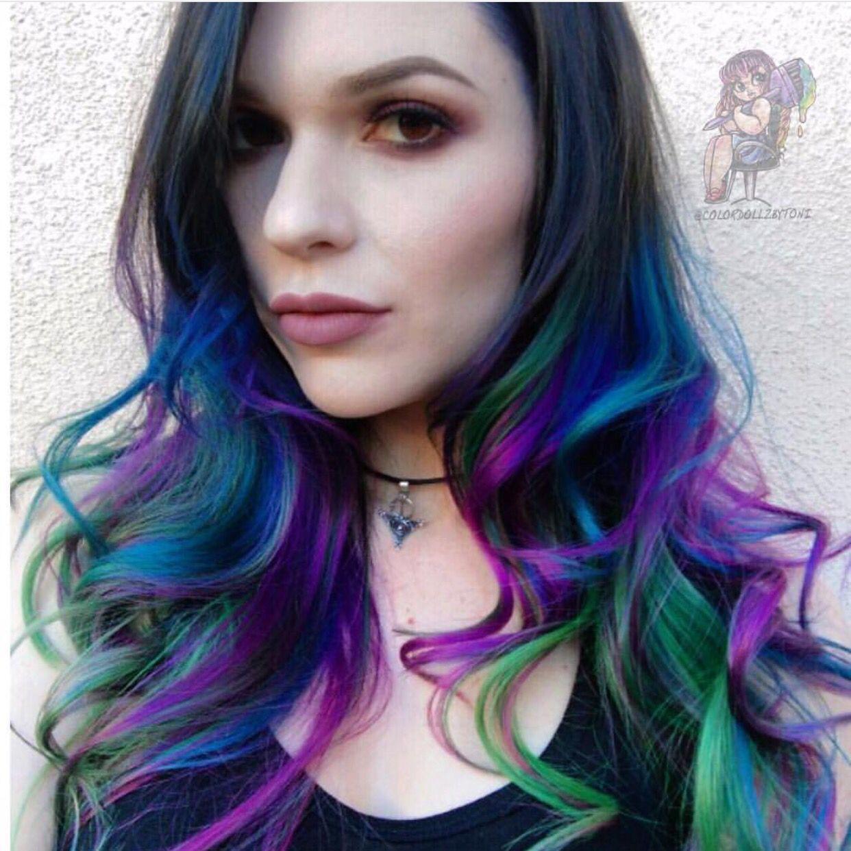 Multi Colored Hair Ombre Blue Green Purple Hair Mermaid Hair Color Mermaid Hair Purple Ombre Hair
