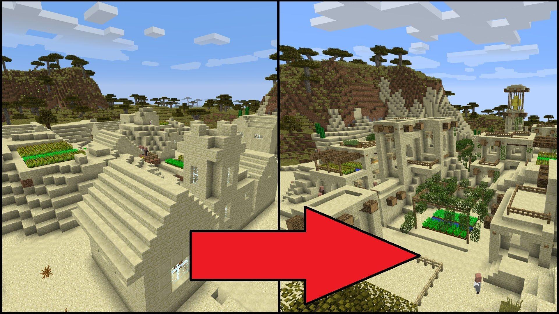 Let S Transform A Minecraft Desert Village Youtube Minecraft Minecraft Modern Minecraft Creations