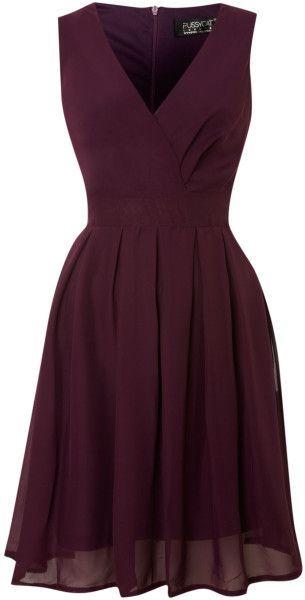 d8c0fa122b9521 Pussycat Purple Chiffon Vneck Wrap Dress